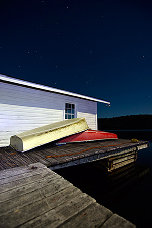 """Starry Night Boathouse"" by Bo Cheatham - 1650 Gallery Dark Side 2015 Photography Exhibition"
